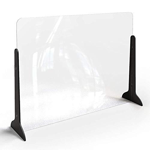 Klemp Spuckschutz Hustenschutz Niesschutz Thekenaufsatz Tischaufsatz Tresenaufsatz Antibakteriell Glasklar Spritzschutz aus Plexiglas mit Standfüßen - 100x75 cm