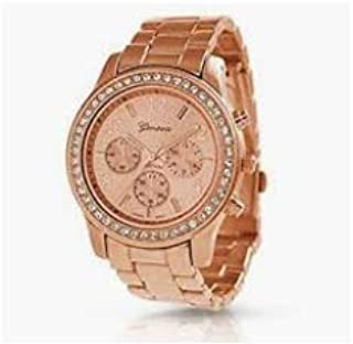 Geneva Stainless Steel Watch for Women Rose Gold