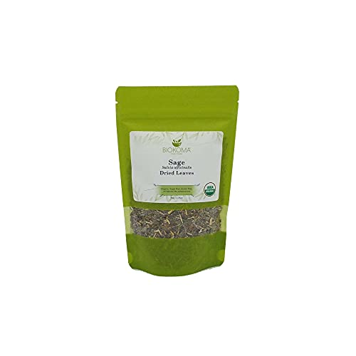 100% Pure and Organic Biokoma Sage Dried Leaves 50g (1.76oz) In Resealable Moisture Proof Pouch