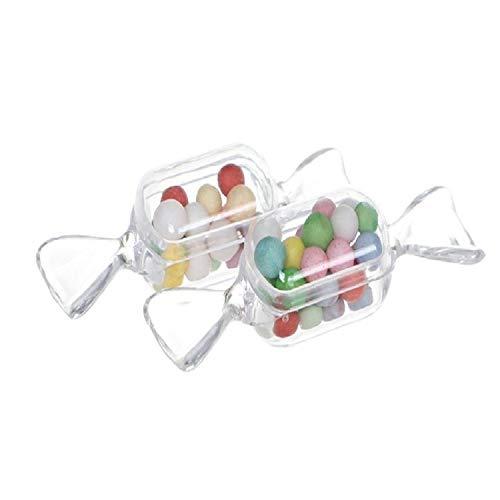 Artículos de Vacaciones MMGZ 10 PCS/en Forma de Caramelo Conjunto Transparente del Caramelo Creativo Caja pequeña Mini Caja de plástico (Claro) (Color : Clear)