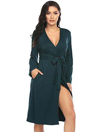 ADOME Damen Bademantel Morgenmantel Robe Saunamantel mit V Ausschnitt Lang Reisebademantel Kimono Pyjama für Herbst Winter Frauen Grün