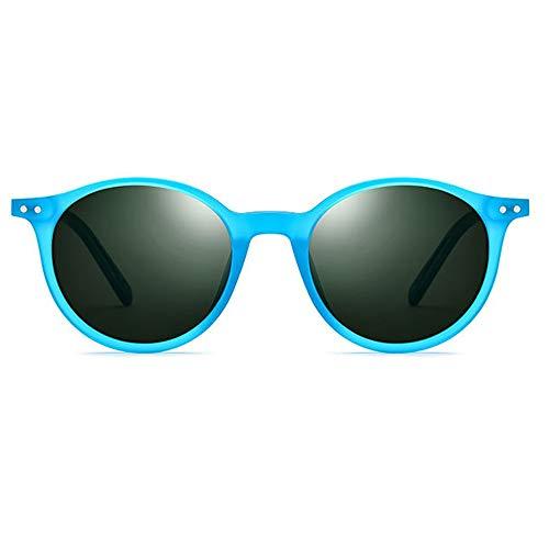TYXL Sunglasses Marco De La Placa De Color Gafas De Sol Polarizadas Mujer Gafas De Sol Retro Redondas Protección UV400 (Color : Blue)