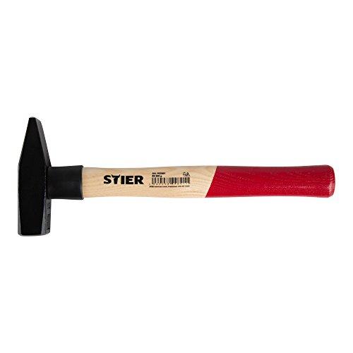 STIER Schlosserhammer Robust, 800 g, mit Stielschutz, DIN 1041, Eschenstiel, hohe Qualität, Abrisshammer, Hammer