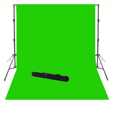 ePhoto 10' X 12' Video Photography Studio Chroma Key Chromakey Green Screen Cotton Muslin Backdrop Seamless and Background Supporting System Kit with Carrying Case