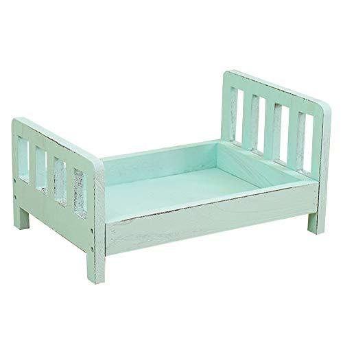 Cama de fotografía para bebé, accesorios para fotos de bebé, cama de muñeca de madera, fondo de fotos desmontable para estudio de fotografía de bebé azul azul
