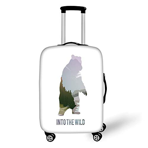 Travel Luggage Cover Suitcase Protector,Cabin Decor,Wild Animals of Canada Survival in The Wild Theme Hunting Camping Trip Outdoors Decorative,Multicolor,for Travel,L