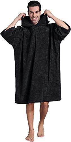 Winthome Bademantel mit Kapuze zum Umziehen am Strand/im Schwimmbad für Erwachsene Herren Damen, Badeponcho Handtuch (Schwarz, XL)