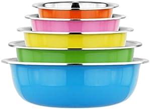 Colorful Stainless Steel Basin Set, Color Basin 5-piece Set, Multifunctional Fruit Basin Salad Basin Soup Basin And Basin Set