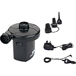 Airflow 250 litres per minute. Rechargeable (included) . Mains charger. Car charger adaptor.