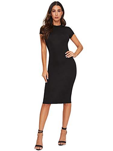 Verdusa Women's Mock Neck Cap Sleeve Solid Bodycon Pencil Dress Black M