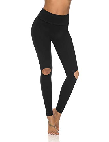 DIBAOLONG Womens Ripped Leggings with Holes High Waist Cutout Yoga Pants Distressed Workout Gym Leggings Black M