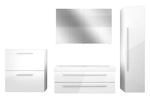 AcquaVapore Badmöbel Set City 101 V5 Hochglanz weiß, Badezimmermöbel, Waschtisch 120 cm JA mit 2x 5W LED