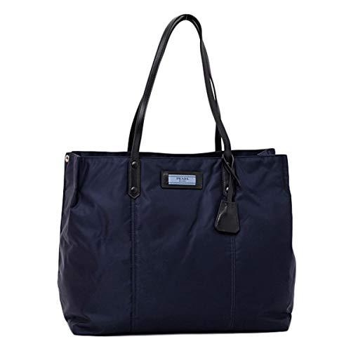 Prada Dark Blue Navy Nylon Black Leather Strap Shoulder Shopping Tote 1BG184