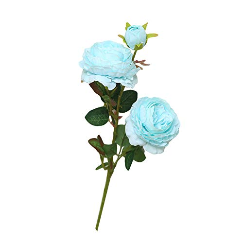Beiguoxia réaliste Superbe artificielle Pivoine 1pièce 3 têtes artificielle Faux Pivoine Fleur fête de mariage Home Office Décoration – Blanc + Rose bleu