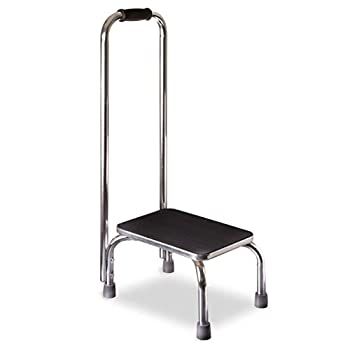 DMI Step Stool with Handle and Non Skid Rubber Platform Lightweight and Sturdy Stool for Seniors Adults and Children Holds up to 300 Pounds with 9.5 Inch Step Up Chrome
