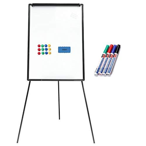 Yorbay 2-in-1 Flipchart und Whiteboard in 70 x 100 cm mit Dreibein Ständer (Höhenverstellbar) (Mehrweg)