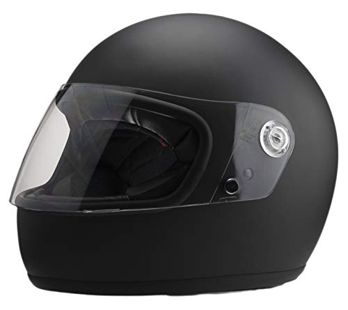 Casco moto stile retrò El Villano & Co by Iguana Custom Collection nero opaco, perfetto per motociclette classiche, cafe racer, bobber o custom (M)