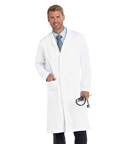 Landau Men's Professional Full Length 3 Pocket Medical Workwear Lab Coat, White, 44