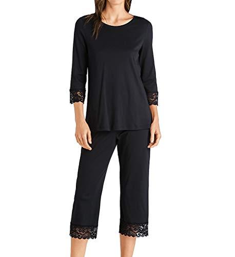 Hanro Damen Moments Nw Pyjama 3/4 Arm Zweiteiliger Schlafanzug, Schwarz (Black 0019), 48 (Herstellergröße: L)