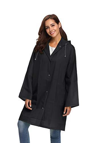 Rain Jacket with Hood in a Bag Lightweight Women Travel One-Piece Rainwear Black