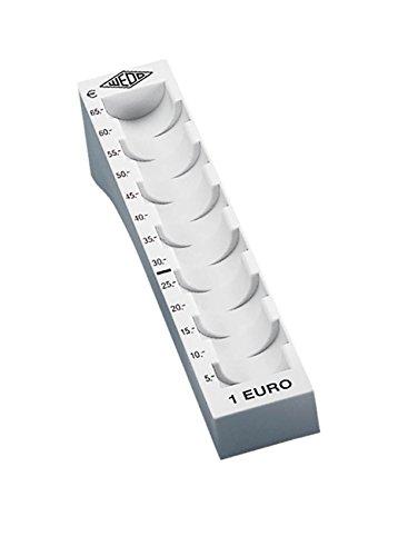 Wedo 160710037 Münzrille (1 Euro, Kunststoff für 65 Münzen mit Markierungen 18 x 4,5 x 3,58 cm) lichtgrau