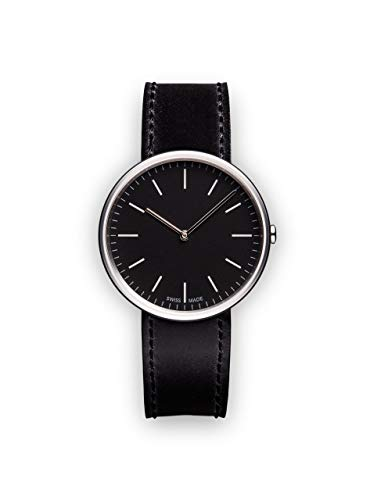 Uniform Wares Unisex Herren & Damen M35 Two-Hand Uhren In Polished Steel with Black Nappa Leather Strap