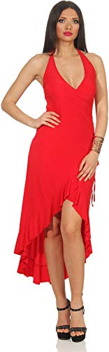 Jela London Vokuhila Tanzkleid Latin Salsa Rock Wickeloptik, Rot