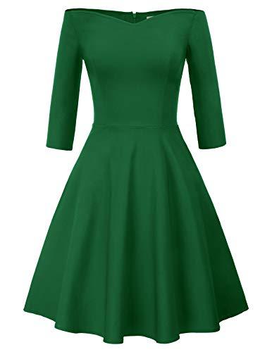 Swing Kleid grün Petticoat Kleid 50er Jahre Rockabilly Knielang Festliche Kleider CL823-4 2XL