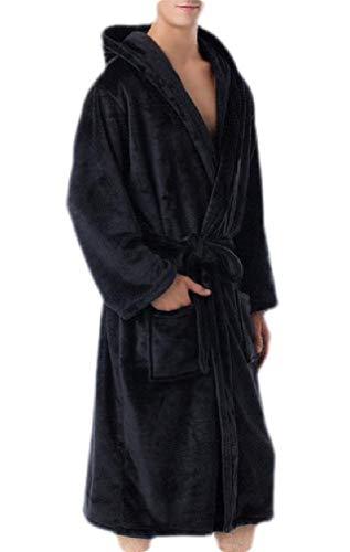 H&E Bata de baño para Hombre, Talla Grande, con Capucha, Forro Polar Negro Negro (M