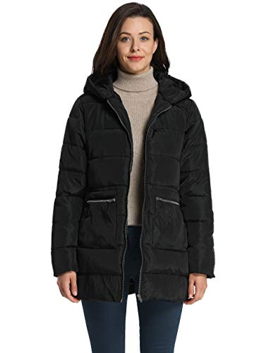 iloveSIA Women's Winter Puffer Coats Down Alternative Puffer Coat with Hood Black G2 Size 14