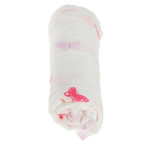 1pcs Plazas Abrazos Colección Impreso Manta Muselina De Algodón Manta De Bebé Recién Nacido Baño Envolver Toalla Barco - Mariposa