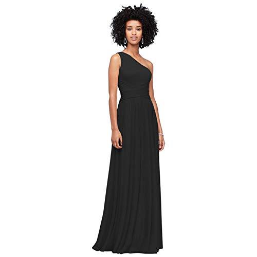 David's Bridal One-Shoulder Mesh Bridesmaid Dress with Full Skirt Style F19932, Black, 12