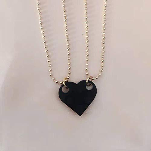 2PCS Beads Necklace Building Brick Heart Necklace for Women Men Lego Elements Couple Valentine's Gifts Punk Girlfriend Necklaces
