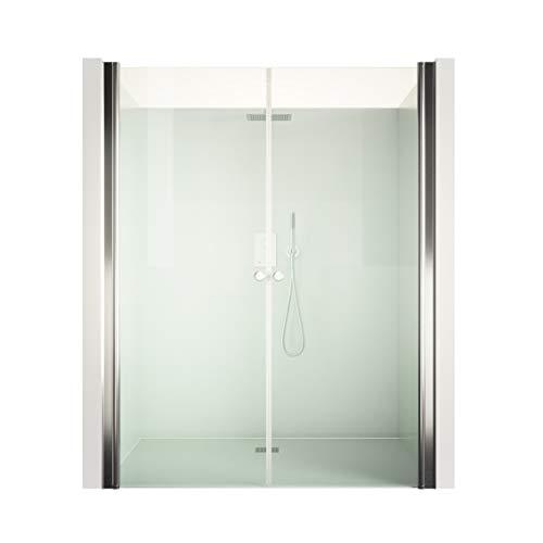DURASHOWER Duschtrennwand aus ESG Glas 1950 mm x 1050 mm – 1080 mm x 6 mm nanobeschichtet Duschwand Dusche Tür Duschkabine