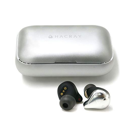 HACRAY W1 完全ワイヤレスイヤホン シルバー アルミ充電ケース 7時間連続再生 IPX7完全防水 スポーツに最適 Bluetooth 5.0 HR16369【日本正規代理店品】
