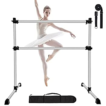 EOSAGA 4 FT Ballet Barre Height Adjustable Portable Light Weight Stretch Ballet Bar Non-Slip Freestanding Dance Bar w/Carry Bag and Leg Stretching  Sliver