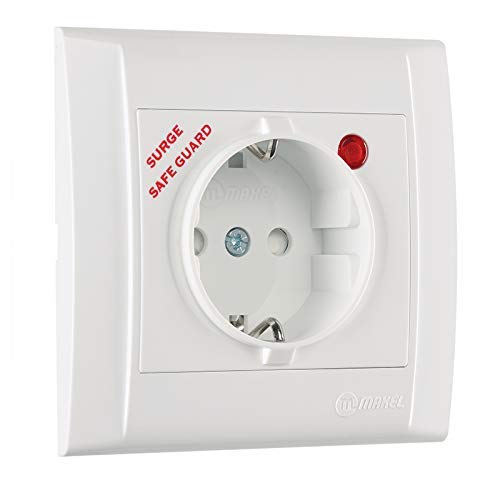 Defne Steckdose mit Überspannungsschutz + Rahmen, VDE Zertifiziert, Unterputz mit Steckklemme, in weiß
