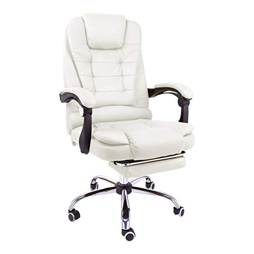 Halter Reclining Leather Office Chair, Modern Executive Adjustable Rolling Swivel Chair, Gaming Chair with Headrest and Retractable Footrest, White