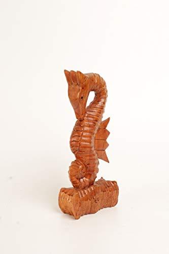 Brave Wings Estatua de madera tallada a mano, caballito de mar de madera, adorno de madera, decoración de mesa, regalo para Navidad – 2548