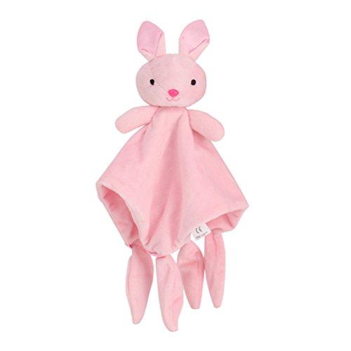 STOBOK Doudou Manta de Seguridad para Bebés Mantitas de Arrullo Peluche Animal Felpa Conejo Rosa