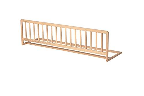 Geuther 2112 NA Bettschutzgitter aus Holz, variable, 140 cm, natur, einfache Handhabung, sicherer Halt, braun, 4.8 kg