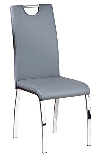 Inter Link 30200930 Küchenstuhl Esszimmerstuhl Esszimmer Stuhl Metallstuhl grau chrom Softpolster