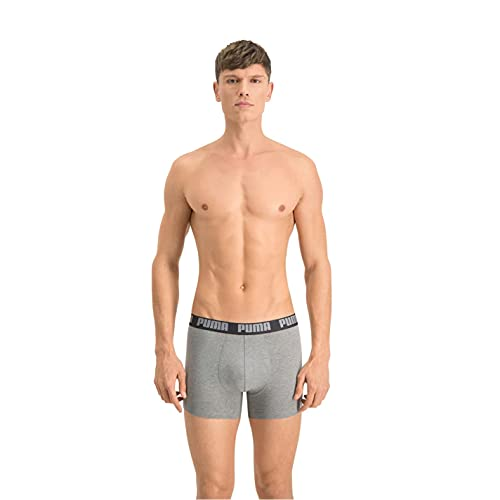 Puma Herren Boxershorts 2er Pack, Dark Grey Melange/Black, L