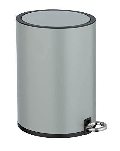 WENKO Kosmetik Treteimer Monza 3 Liter, Badezimmer-Mülleimer mit Absenkautomatik, kleiner Abfalleimer, integrierter Beutelhalter, 18,5 x 25,5 x 24,5 cm, Grau matt
