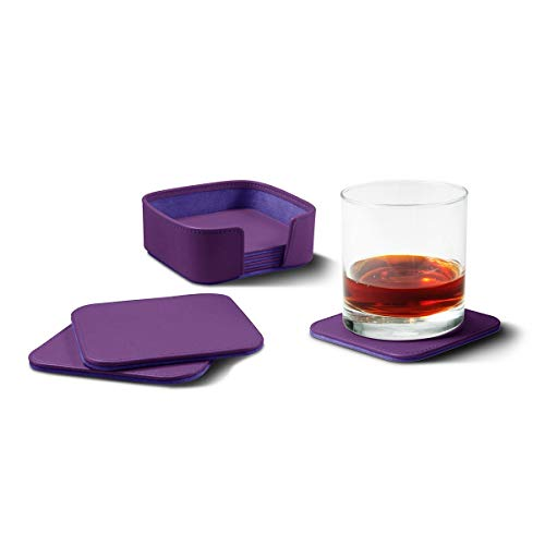 Lucrin - Posavasos lisos cuadrados, fabricados en piel, 6 unidades, Violeta