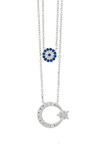 Remi Bijou 925 Sterling Silber Zweilagige Halskette Blaues Auge Mond Stern Ay Yildiz