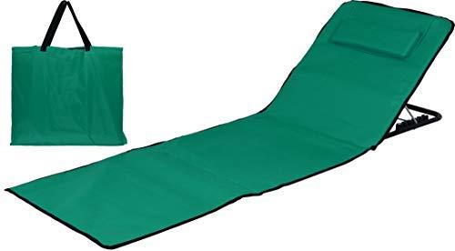 Strandmatte Basic mit Lehne & Kissen 185x47 cm faltbar - Strandliege Strandstuhl Liegematte Grün