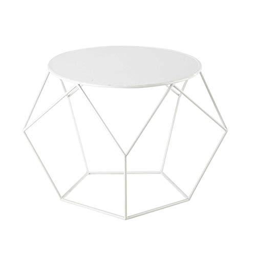 KEKOR Mesa auxiliar de hierro para el hogar, sala de estar, sofá, mesa de café, moderna, estilo nórdico, minimalista, mesilla de noche (blanca, 50 x 44 cm)