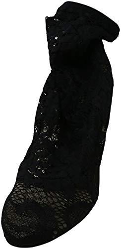 Dolce and Gabbana Women's Stivaletto Pizzo Stretch Black Mid-Calf Mesh Slingback - 9.5 M
