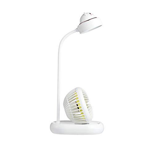 Lámpara De Escritorio LED Flexible Light Dimmable Touch Control Lámpara De Mesa De Guardería con Ventilador Eléctrico Estudio De La Oficina De Lectura (Color : White)